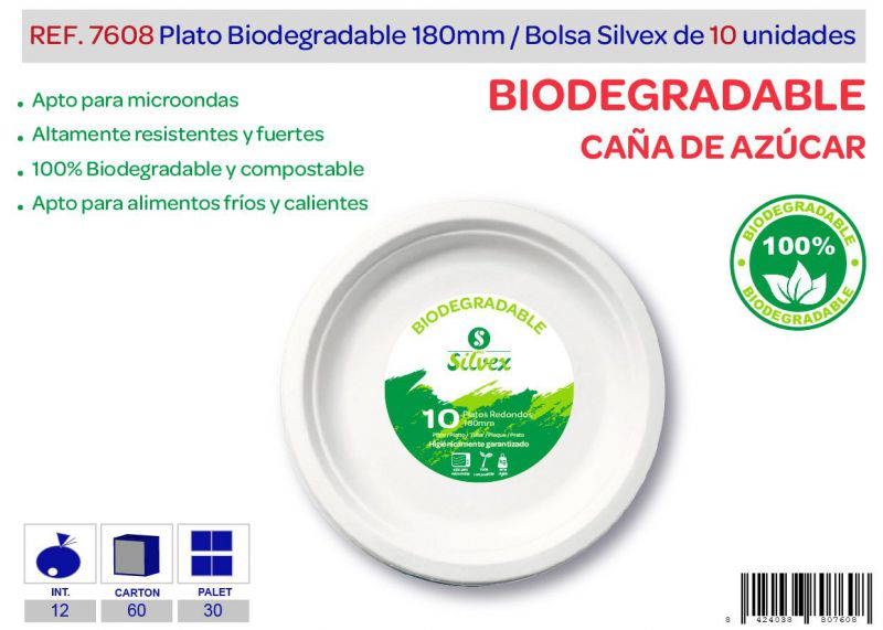 Plato biodegradable 180mm lote de 10 caña de azúcar