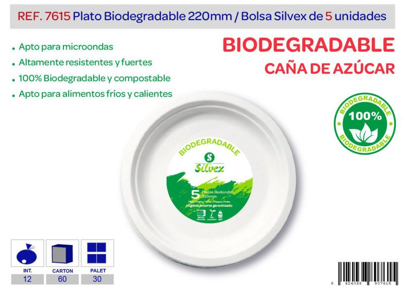 Plato biodegradable 220mm lote de 5 caña de azúcar