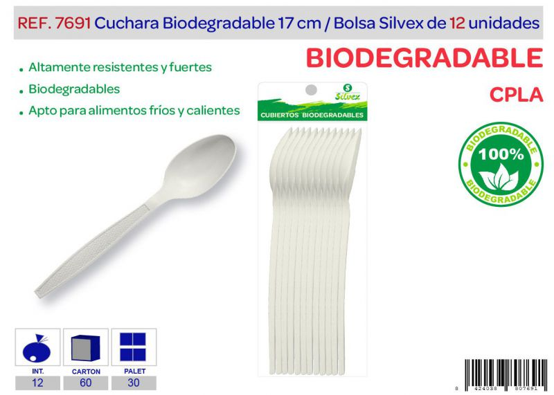 Cuchara biodegradable lote de 12 cpla