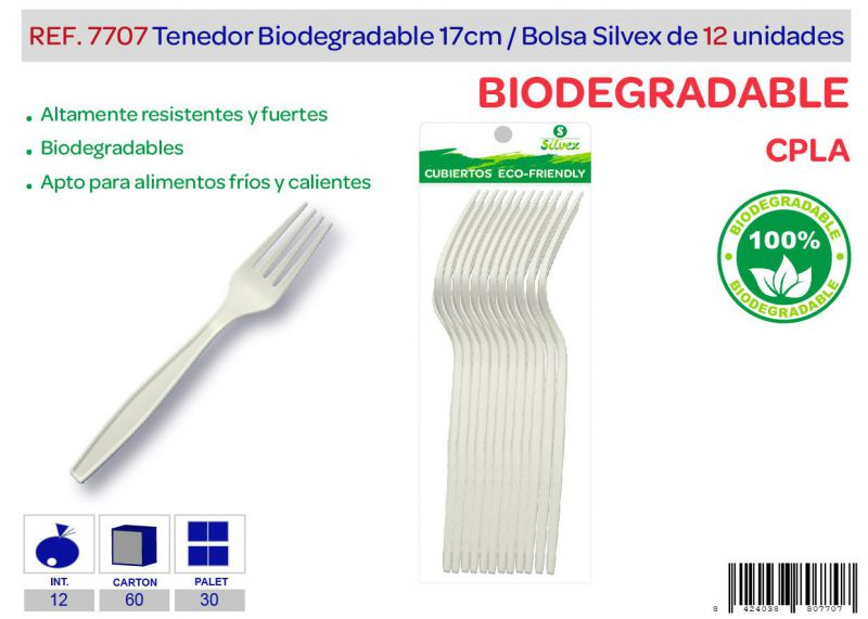 Tenedor biodegradable lote de 12 cpla