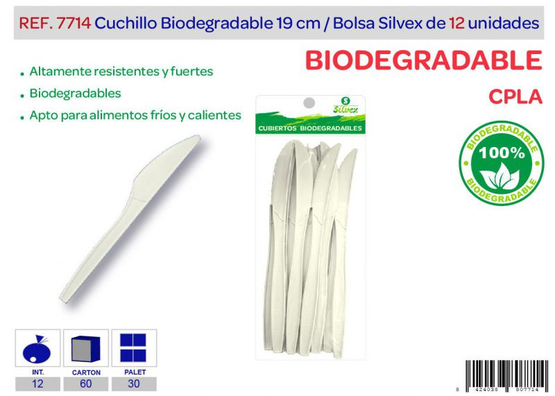 Cuchillo biodegradable lote de 12 cpla