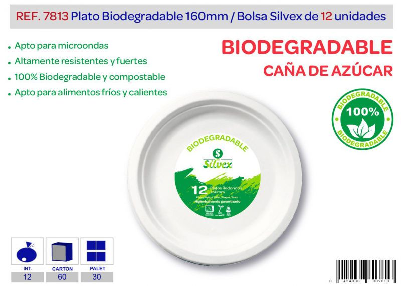 Plato biodegradable 160mm lote de 12 caña de azúcar
