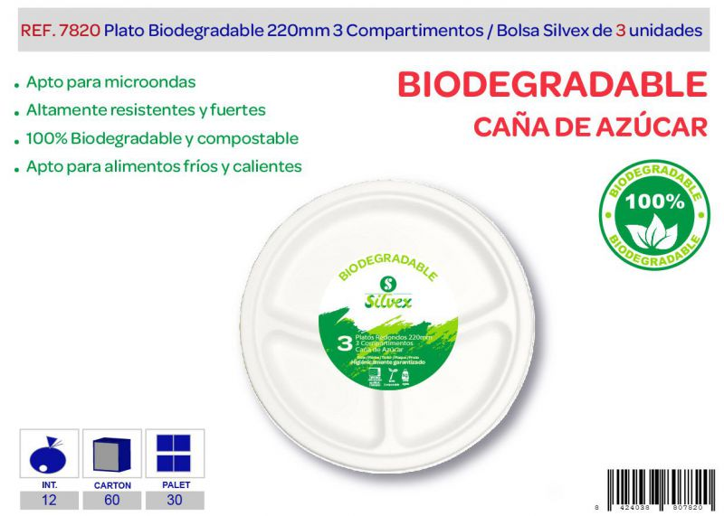 Plato biodegradable 220mm 3 compartimentos lote de 3 caña de azucar