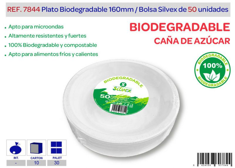 Plato biodegradable 160mm lote de 50 caña de azúcar