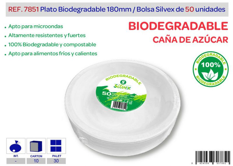 Plato biodegradable 180mm lote de 50 caña de azúcar