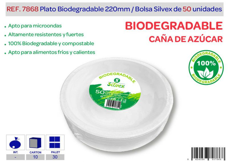 Plato biodegradable 220mm lote de 50 caña de azúcar