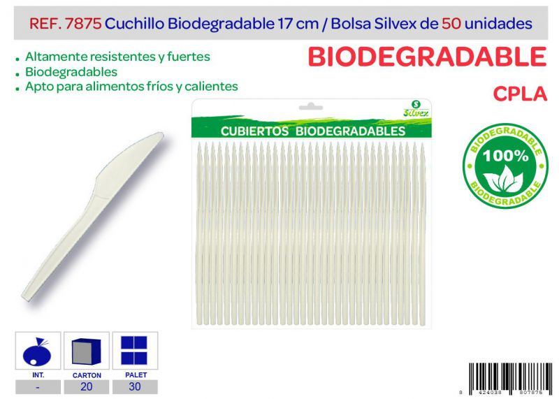 Cuchillo biodegradable lote de 50 cpla