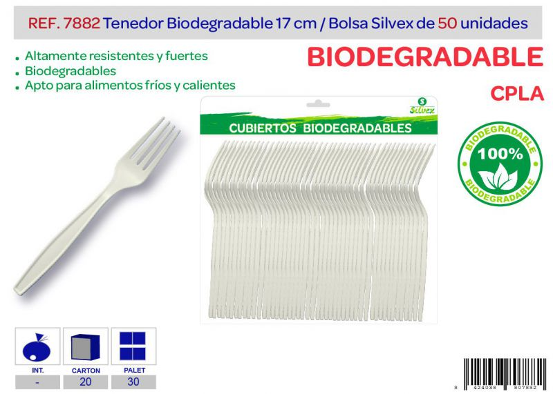 Tenedor biodegradable lote de 50 cpla
