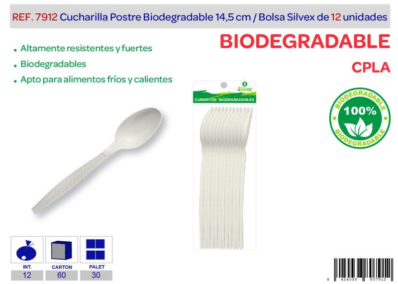 Cucharilla postre biodegradable lote de 12 cpla