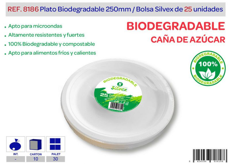 Plato biodegradable 250mm lote de 25 caña de azúcar