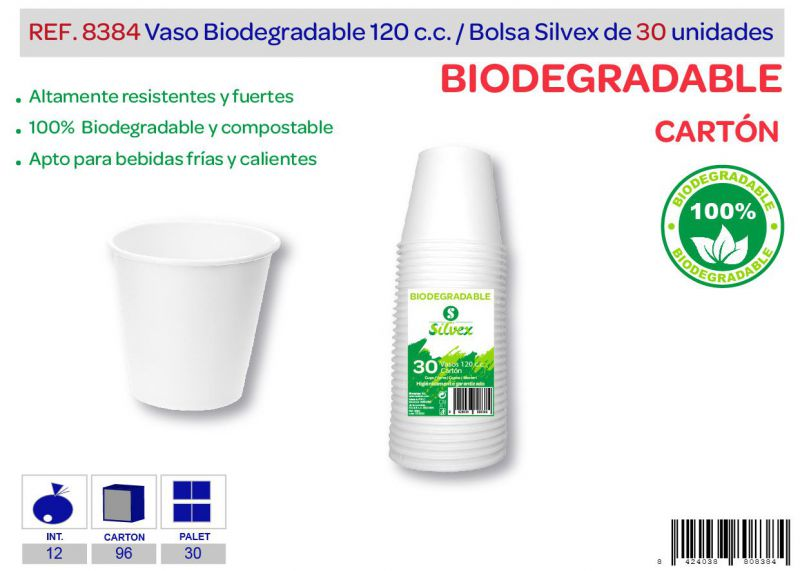 Vaso biodegradable 120 cc lote de 30 cartón