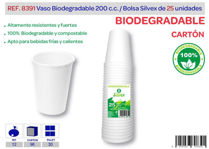 Vaso biodegradable 200 cc lote de 25 cartón