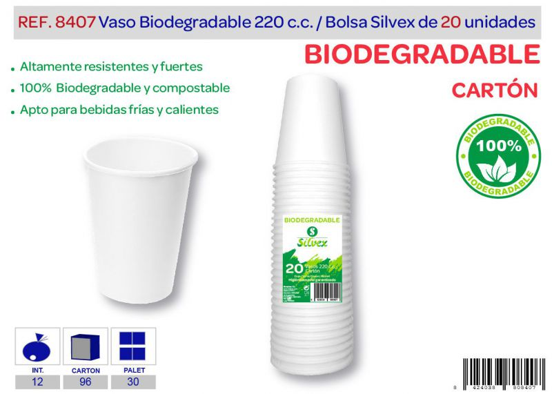Vaso biodegradable 220 cc lote de 20 cartón