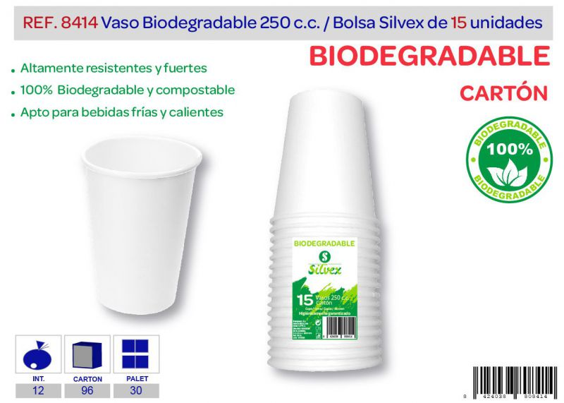 Vaso biodegradable 250 cc lote de 15 cartón