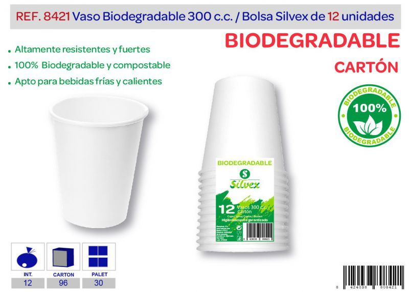 Vaso biodegradable 300 cc lote de 12 cartón