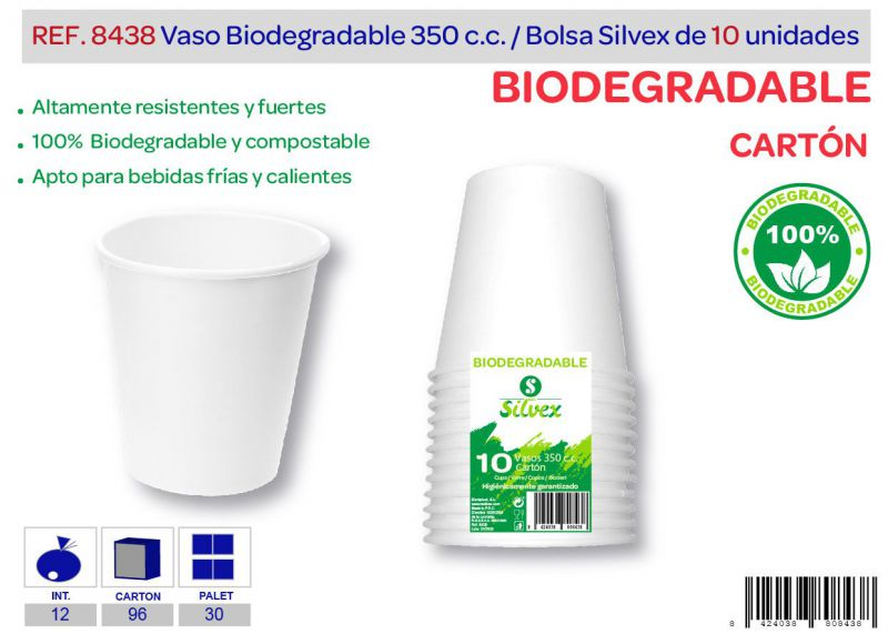 Vaso biodegradable 350 cc lote de 10 cartón