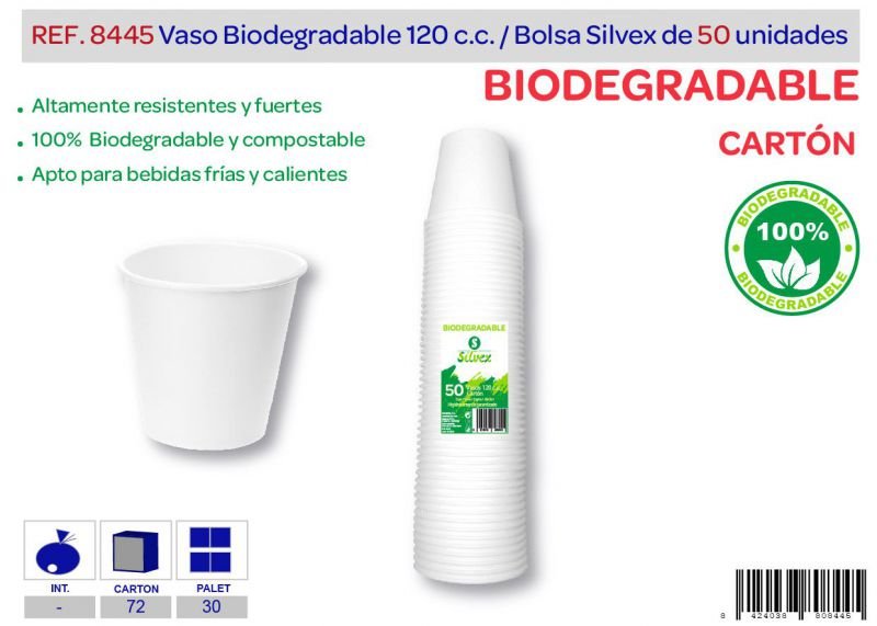 Vaso biodegradable 120 cc lote de 50 cartón