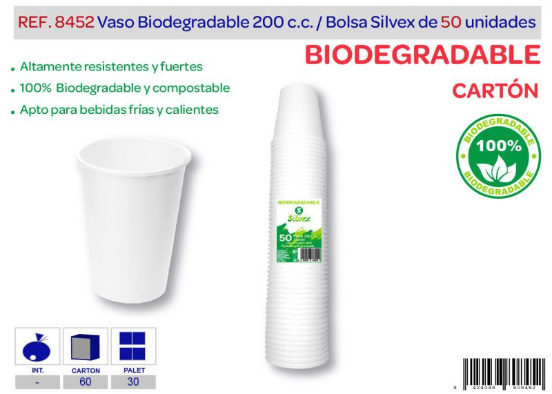 Vaso biodegradable 200 cc lote de 50 cartón
