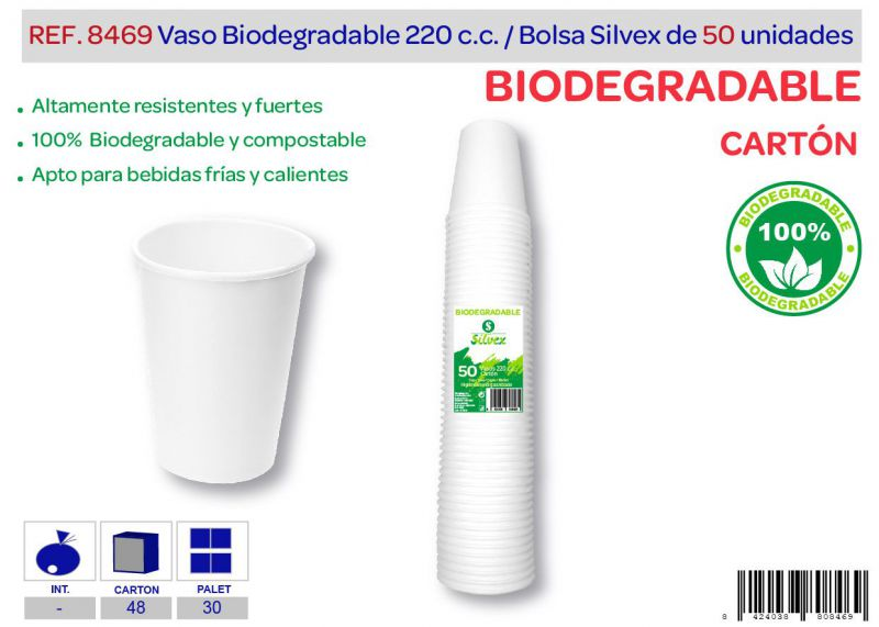 Vaso biodegradable 220 cc lote de 50 cartón