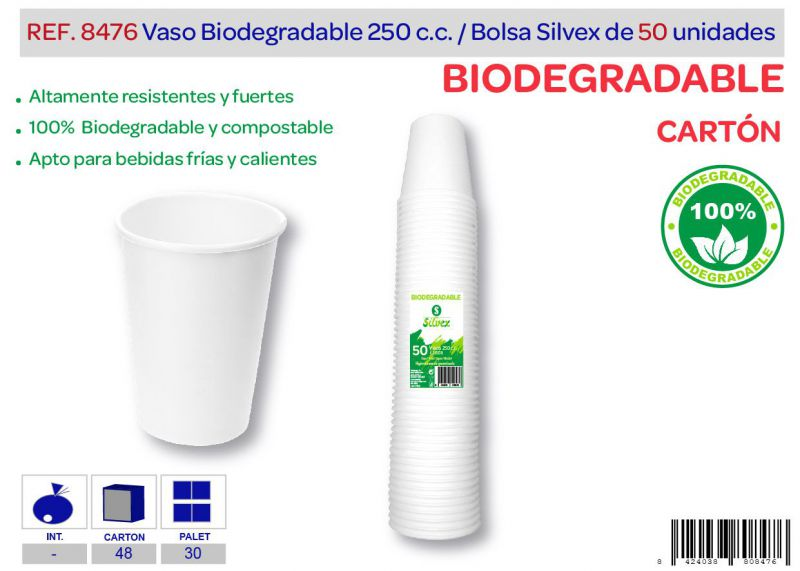 Vaso biodegradable 250 cc lote de 50 cartón