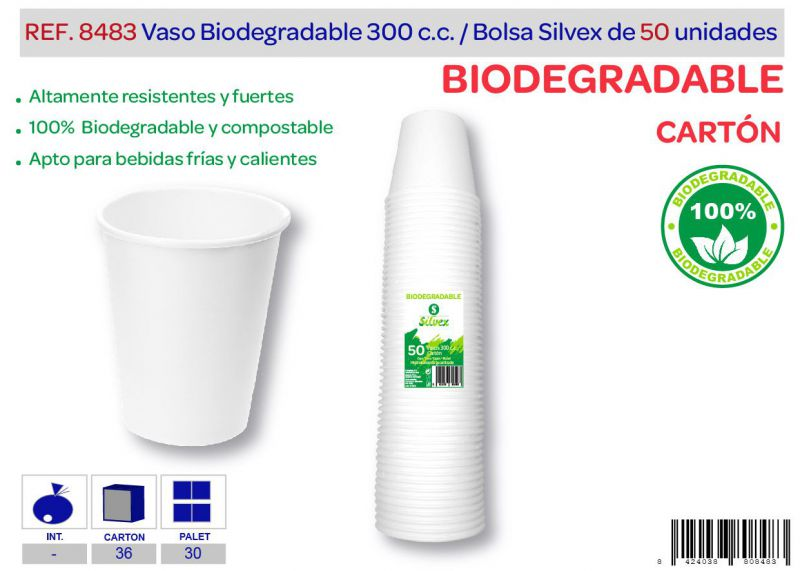 Vaso biodegradable 300 cc lote de 50 cartón