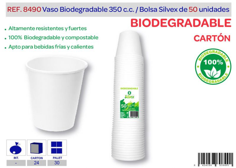 Vaso biodegradable 350 cc lote de 50 cartón