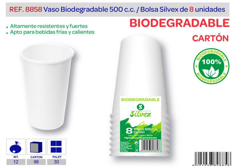 Vaso biodegradable 500 cc lote de 8 cartón