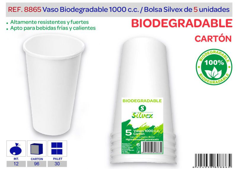 Vaso biodegradable 1000 cc lote de 5 cartón