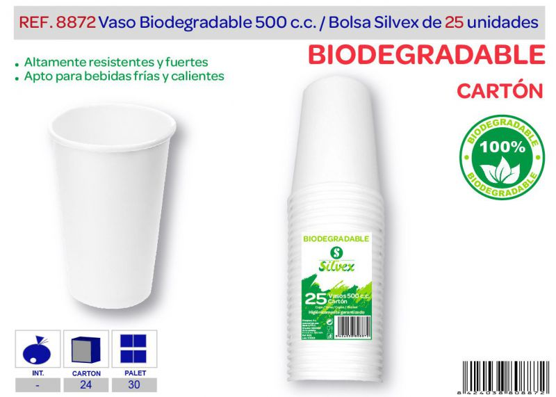 Vaso biodegradable 500 cc lote de 25 cartón