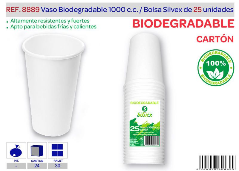 Vaso biodegradable 1000 cc lote de 25 cartón
